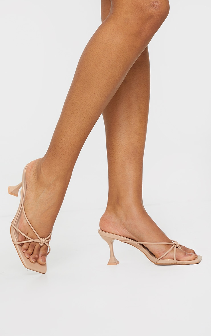 Camel Knot Toe Thong Low Heel Cake Stand Mules 2