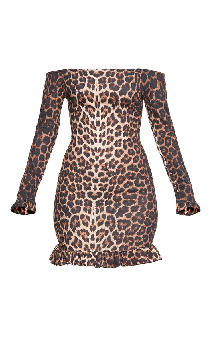Brown Leopard Bardot Frill Hem Bodycon Dress 3