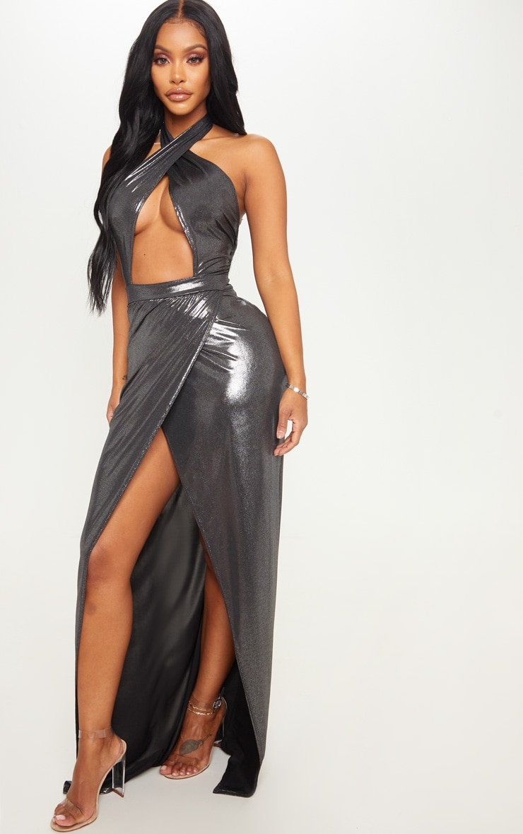 Shape Silver Metallic Wrap Over Plunge Maxi Dress 3