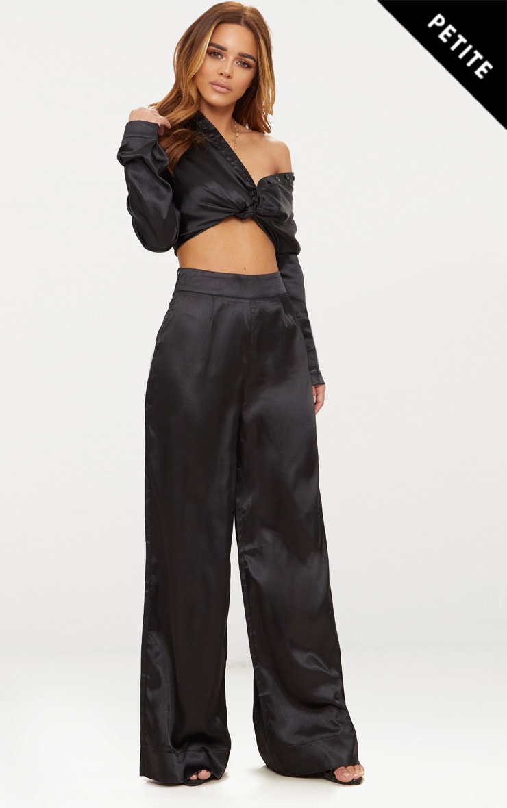 Petite Black Satin Wide Leg Trousers