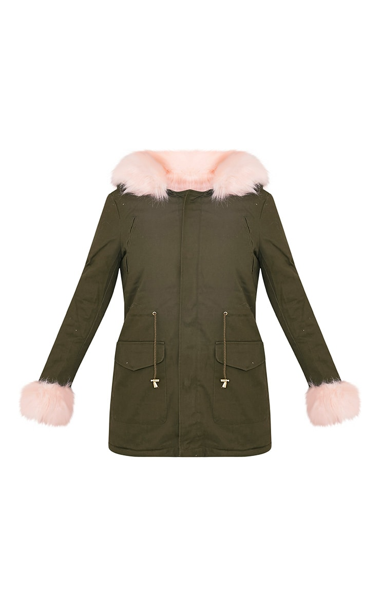 Neena Baby Pink Faux Fur Lined Parka 3