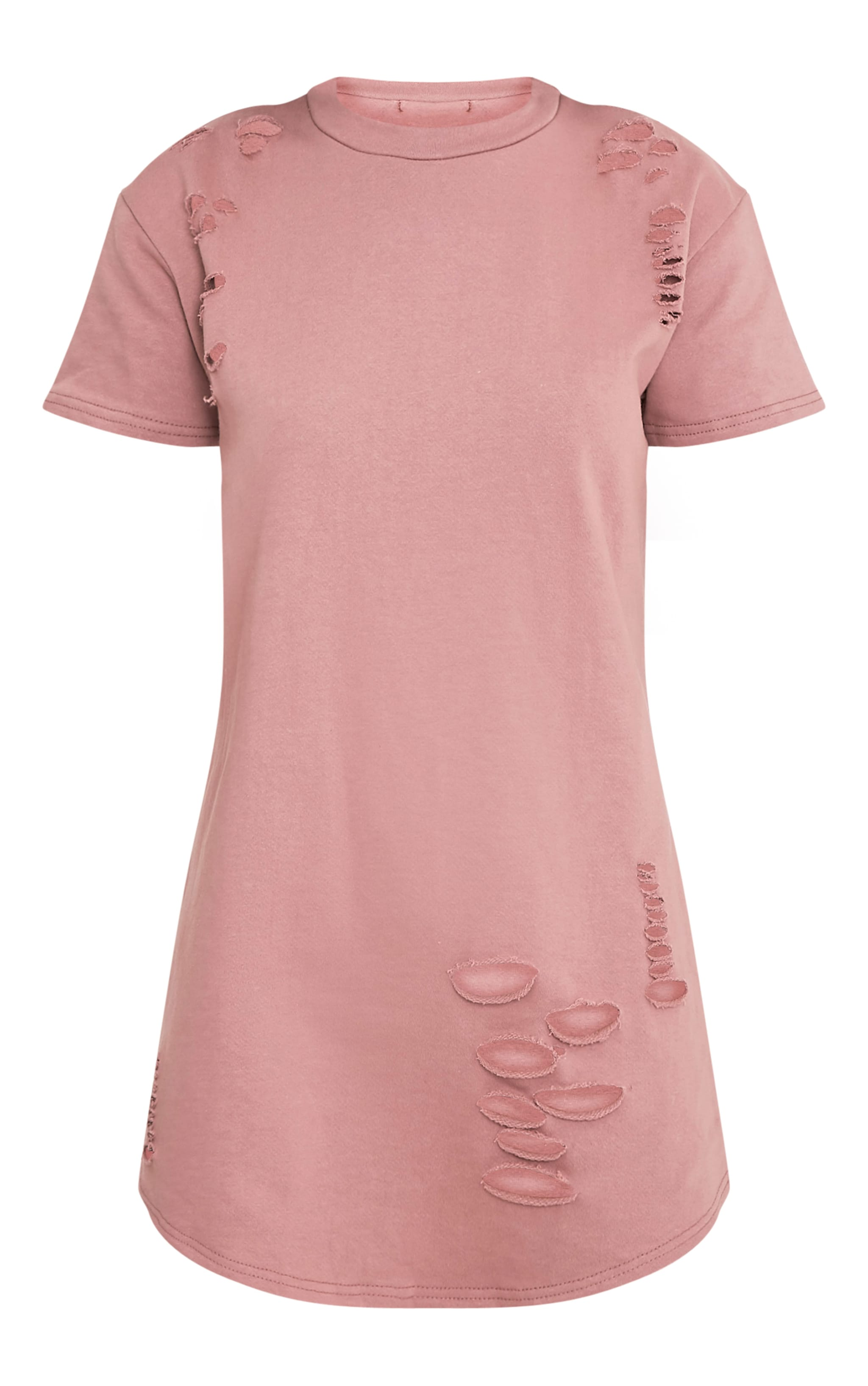 Kelisa Dark Mauve Distressed Short Sleeve T-Shirt Dress 3