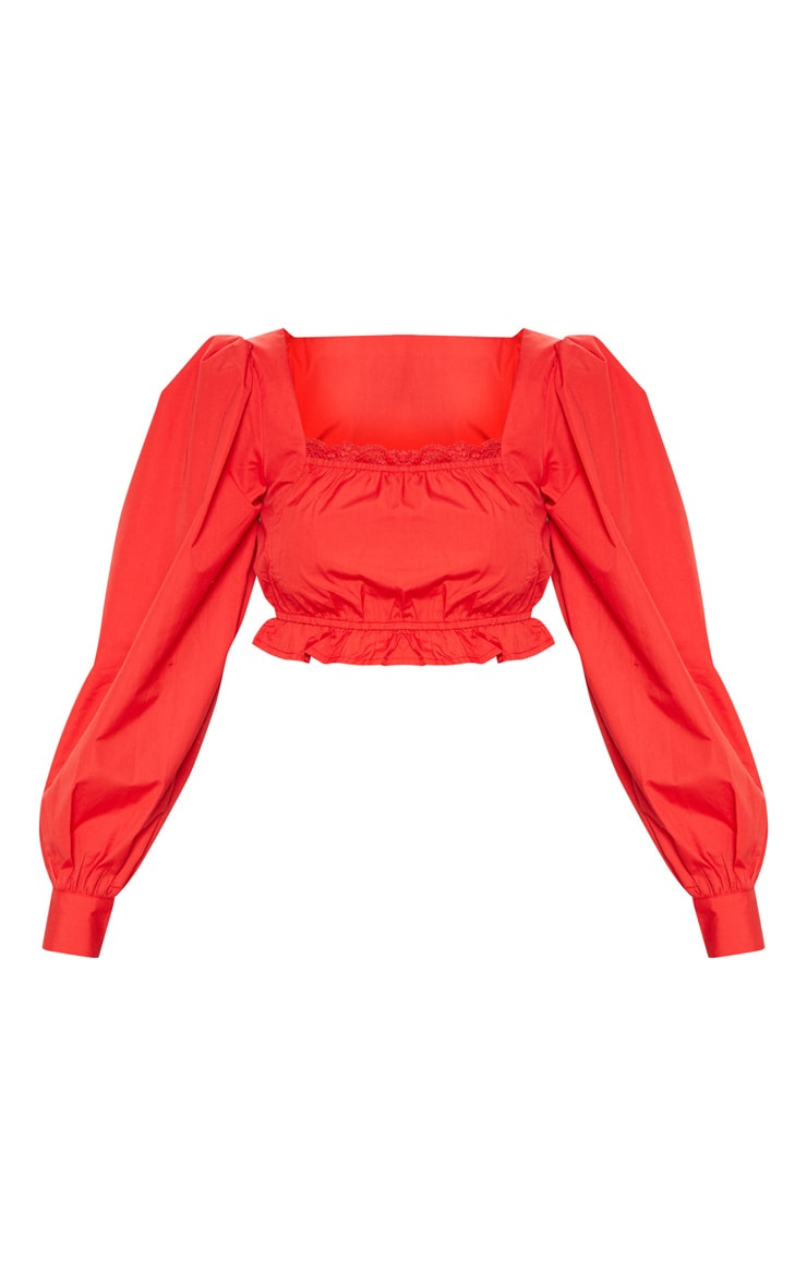 Red Puff Sleeve Crop Top 3