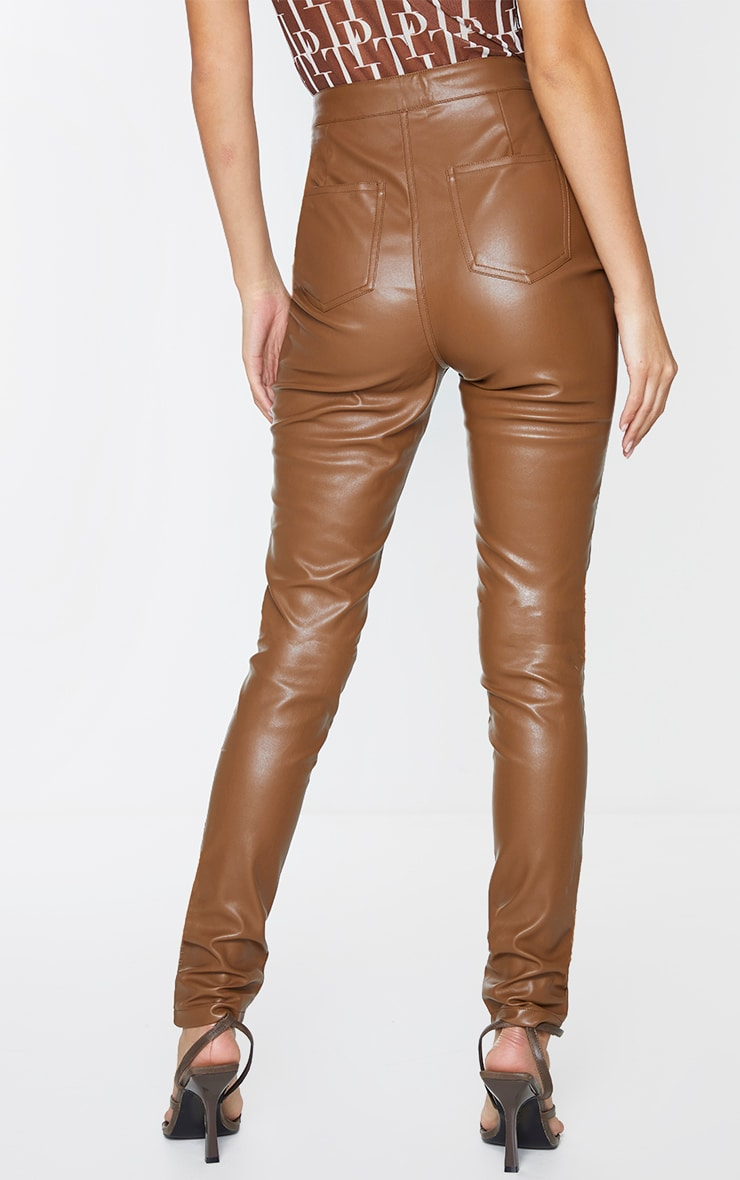 Chocolate Button Up Faux Leather Skinny Trousers 3