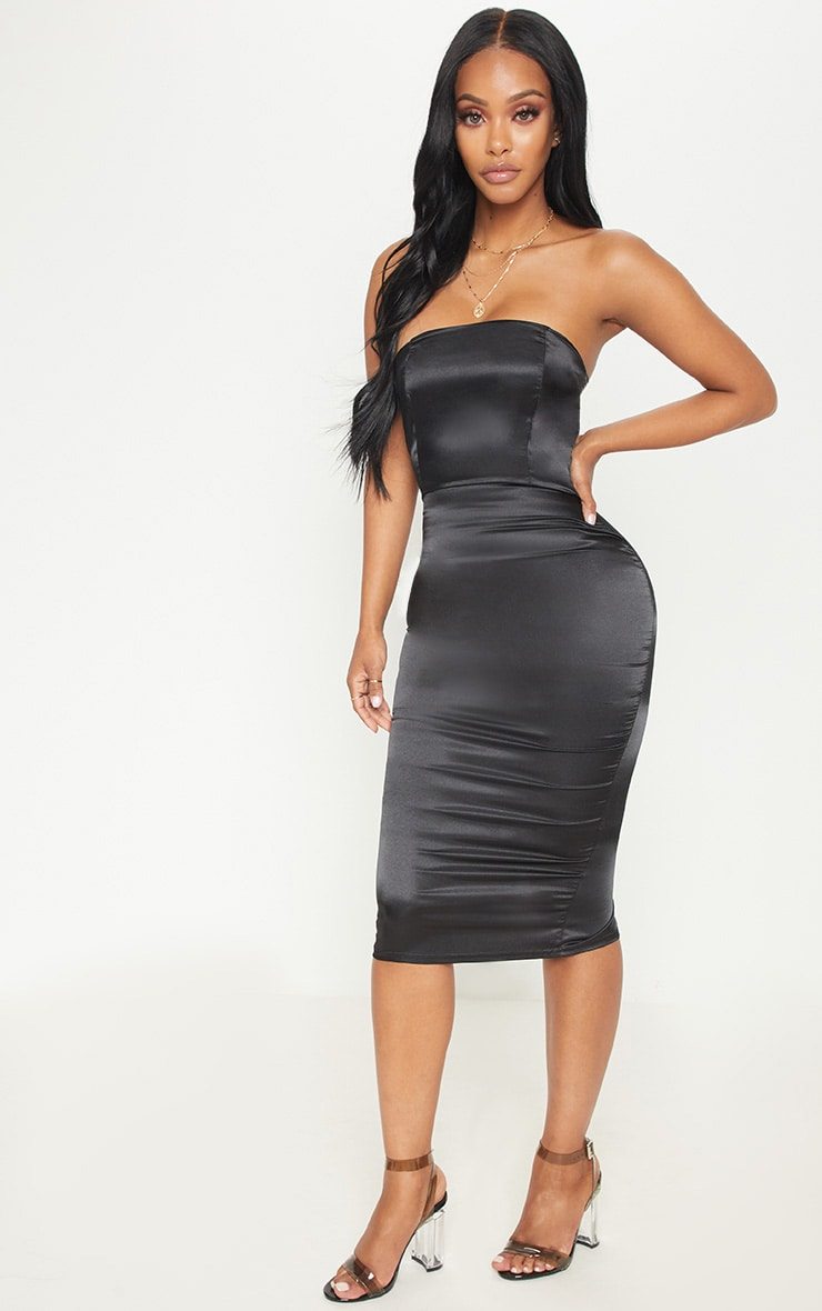 Shape Black Satin Bandeau Midi Dress 4