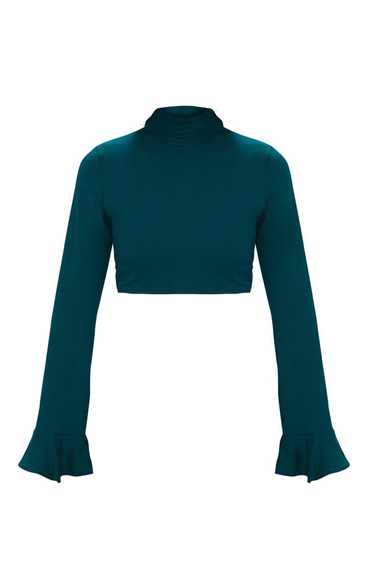 Emerald Green High Neck Frill Sleeve Crop Top  3