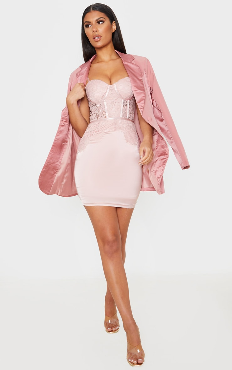 Blush Lace Bodice Strappy Cup Detail Bodycon Dress 4