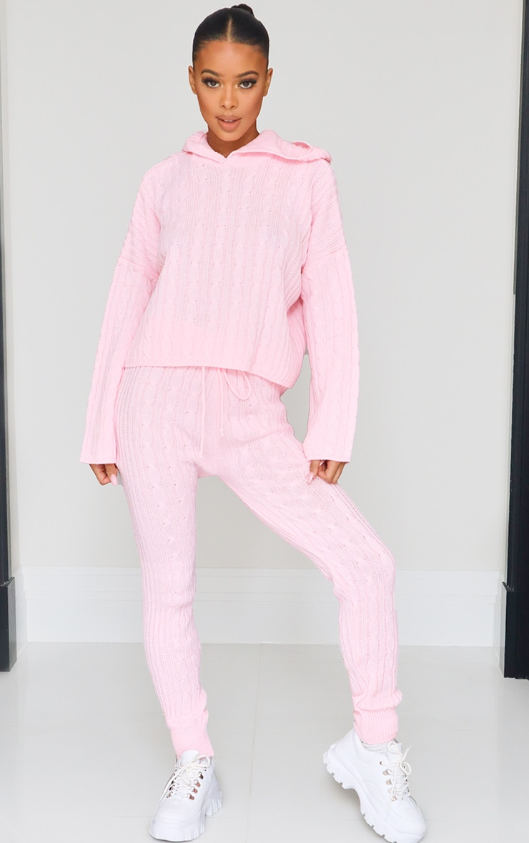 Pink Cable Knitted Hooded Lounge Set 3