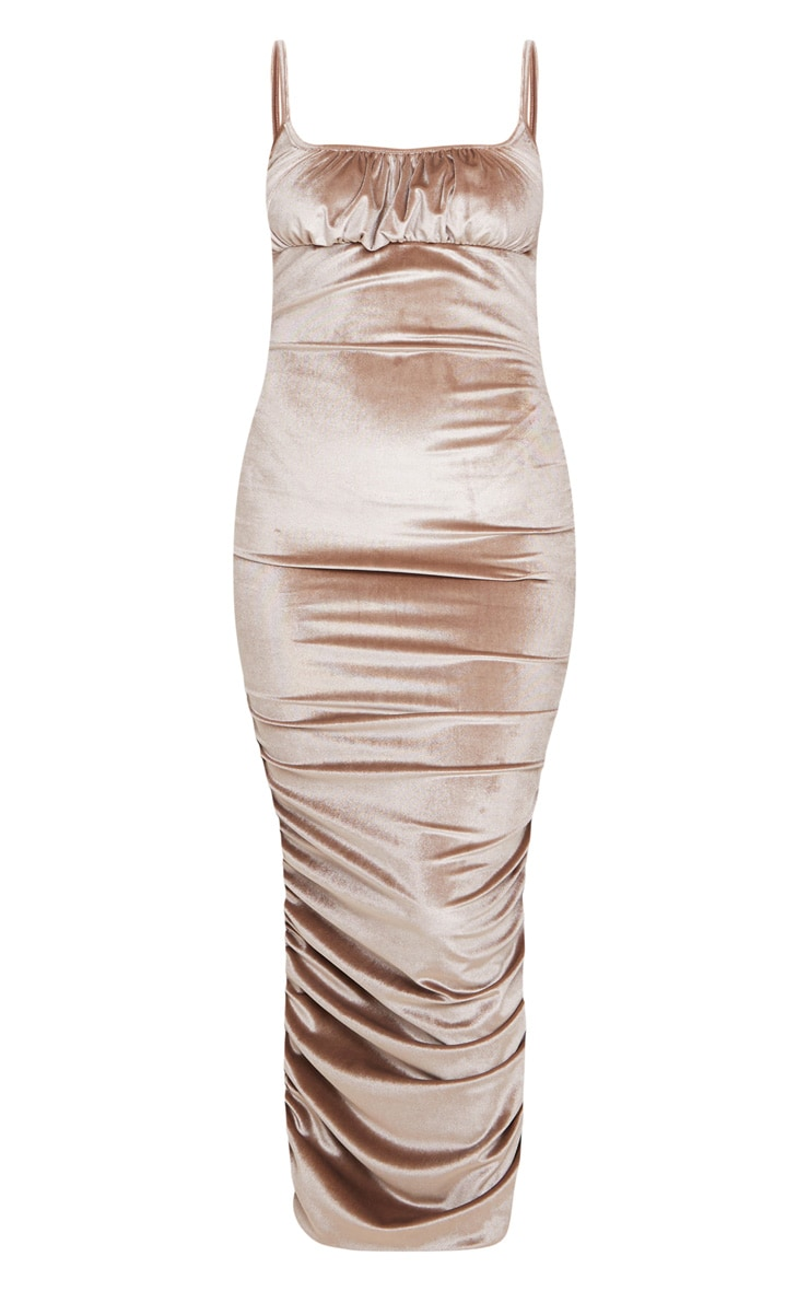 Mocha Velvet Strappy Ruched Midi Dress 3