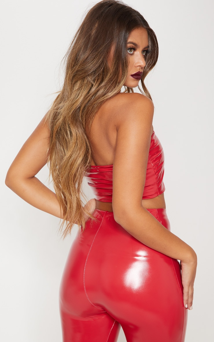 Red Vinyl Bandeau Crop Top 2