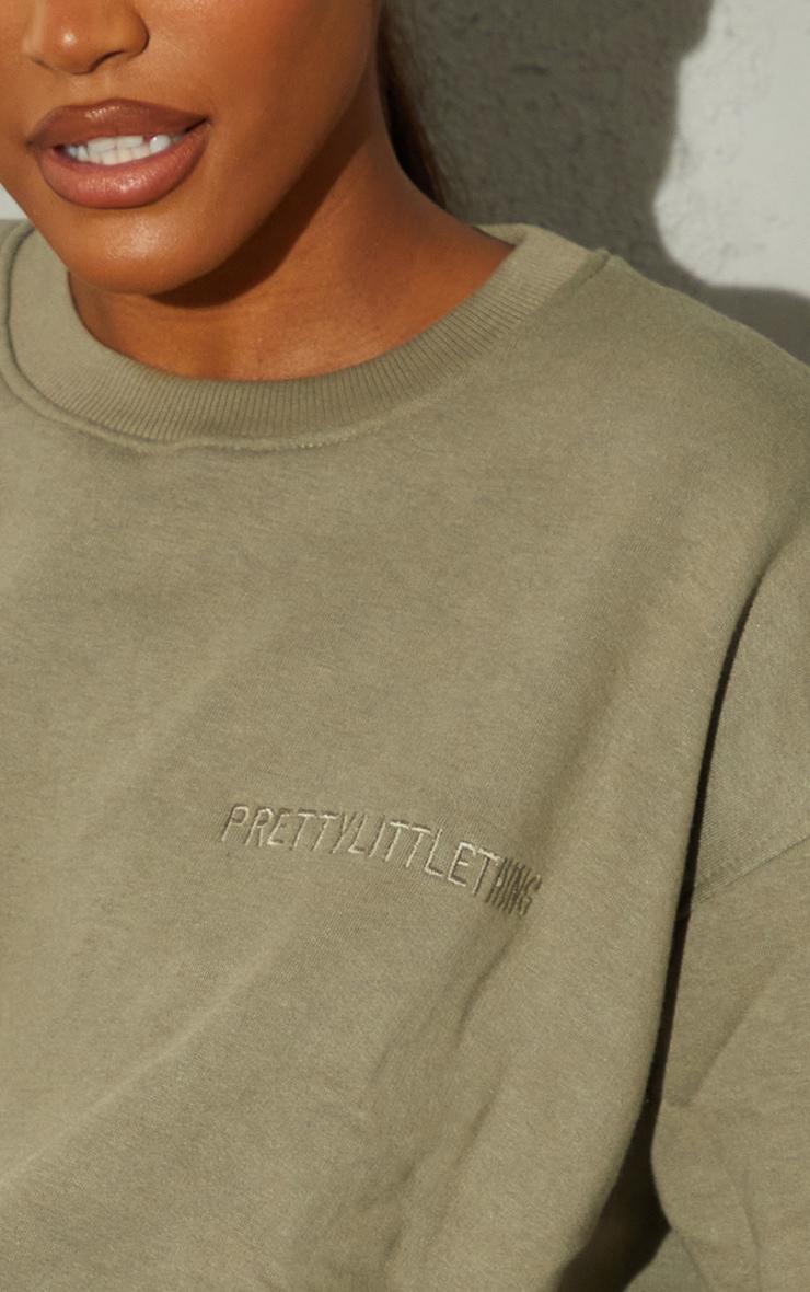 RENEW PRETTYLITTLETHING Khaki Oversized Pocket Front Sweatshirt 4