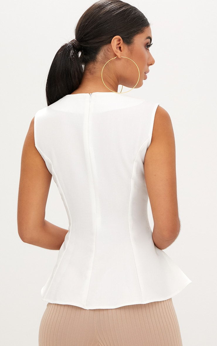 White Sleeveless Peplum Hem Woven Top 3