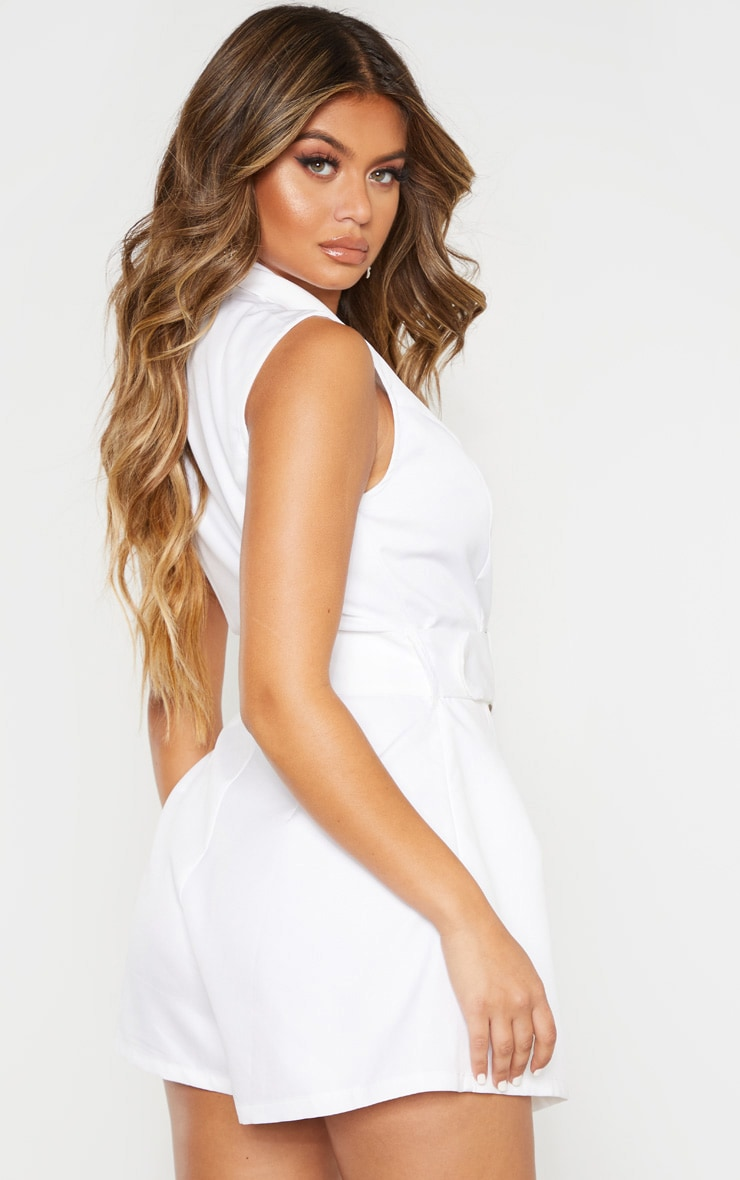 White Tailored Belted Romper 2