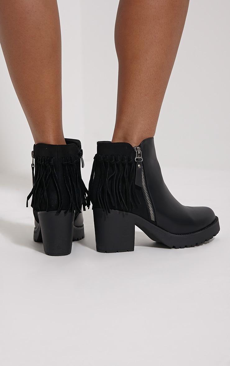 Juana Black Chunky Tassel Ankle Boots 2