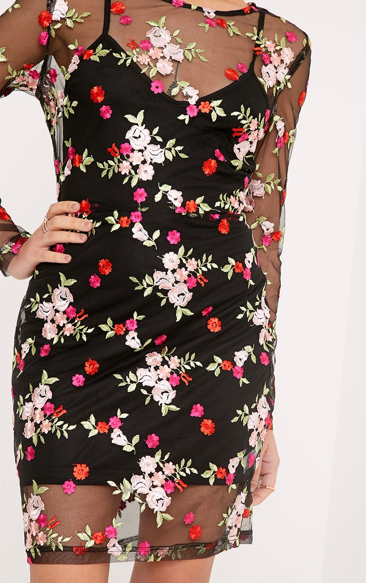 Phoebe Black Floral Embroidered Bodycon Dress 4