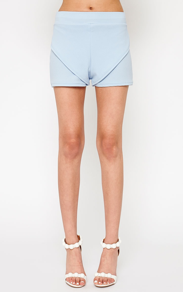 Devon Powder Blue Wrap Detail Shorts 2