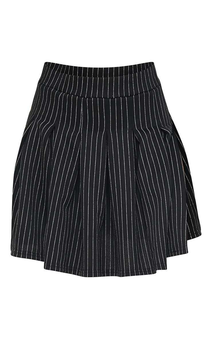 Black Pinstripe Pleated Skater Skirt 6