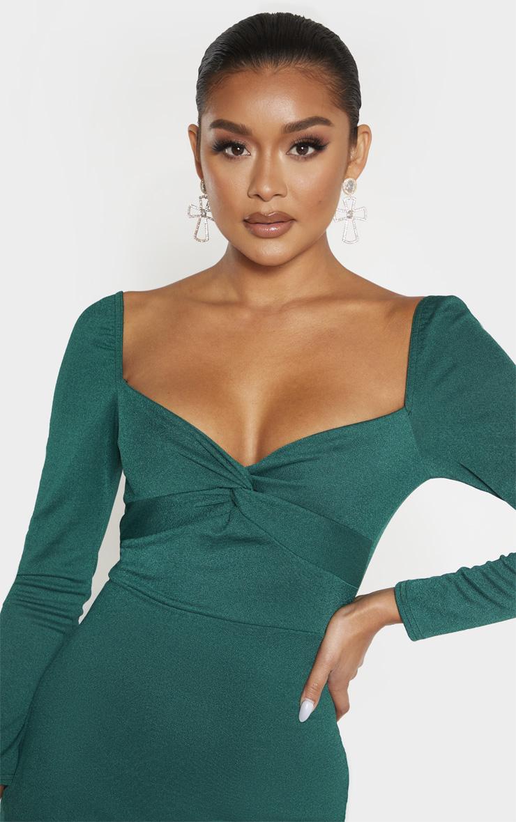 Emerald Green Twist Front Long Sleeve Wrap Midi Dress 5