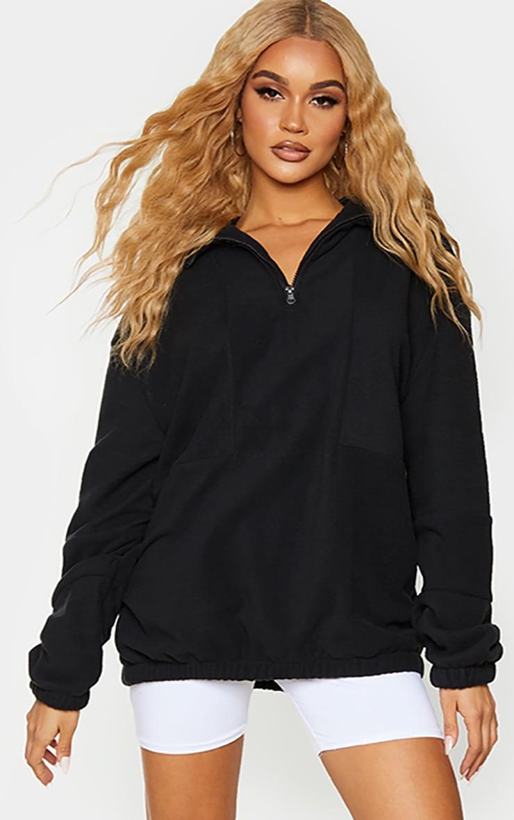Black Fleece Zip Front Oversized Sweater 1
