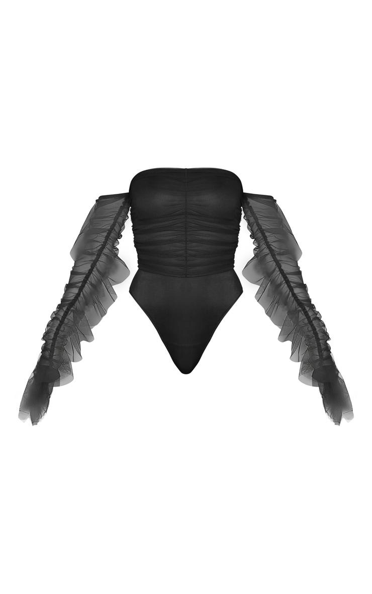 Black Mesh Frill Sleeve Bardot Bodysuit 3