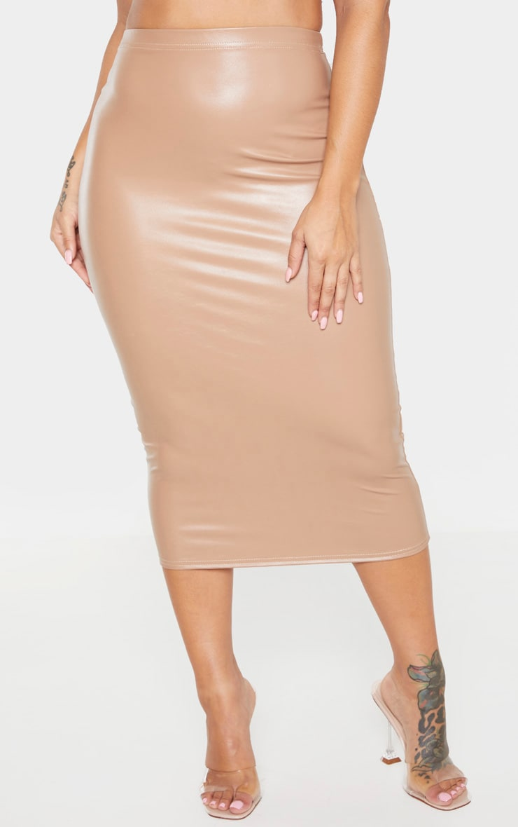 Shape Stone PU High Waisted Midi Skirt 2