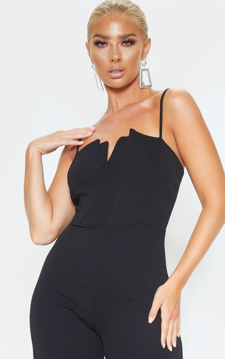 Black Strappy Pleated Plunge Jumpsuit 5