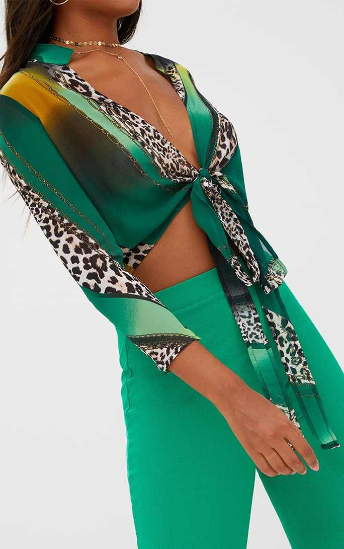 Green Mixed Animal Print Tie Front Blouse 5