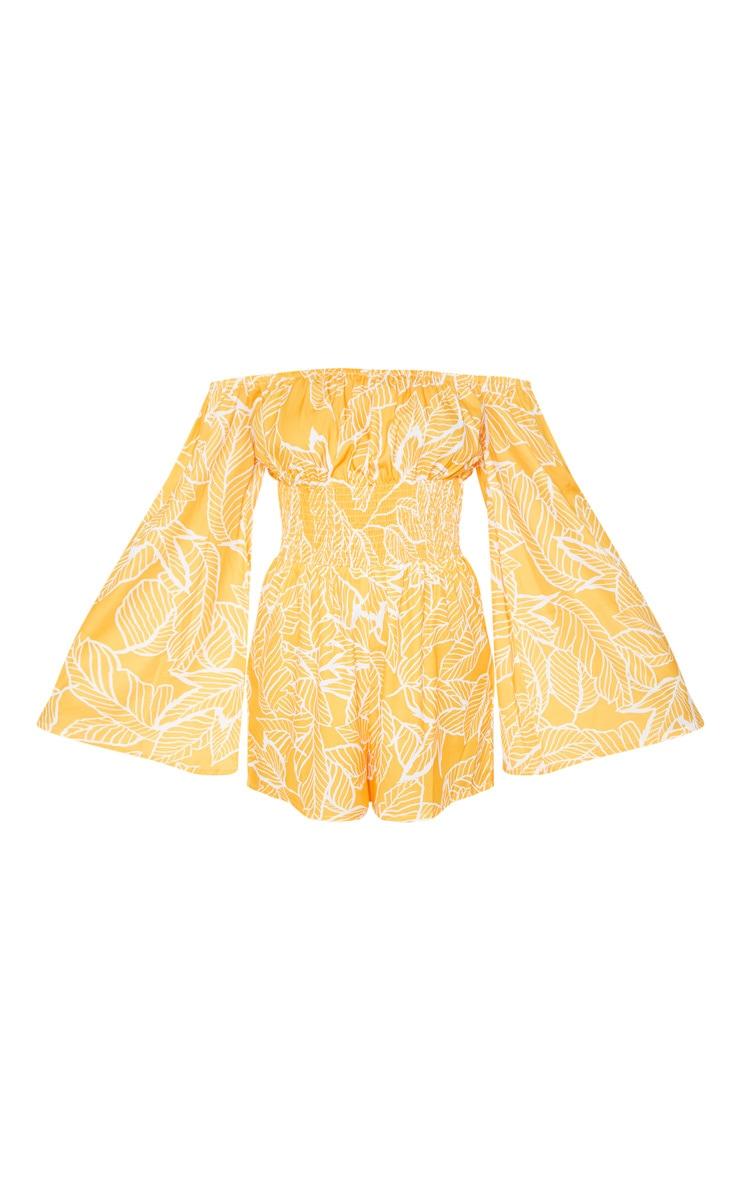 Orange Palm Bardot Romper 3