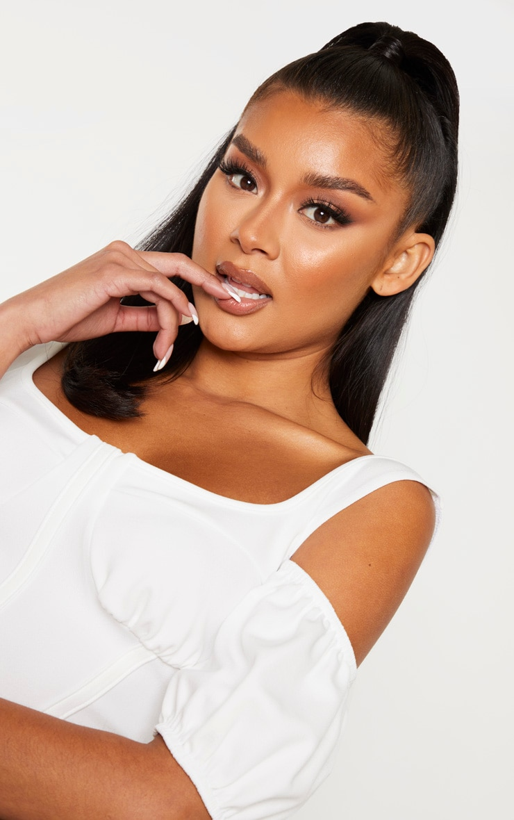 White Crepe Cold Shoulder Panelled Detail Crop Top 5
