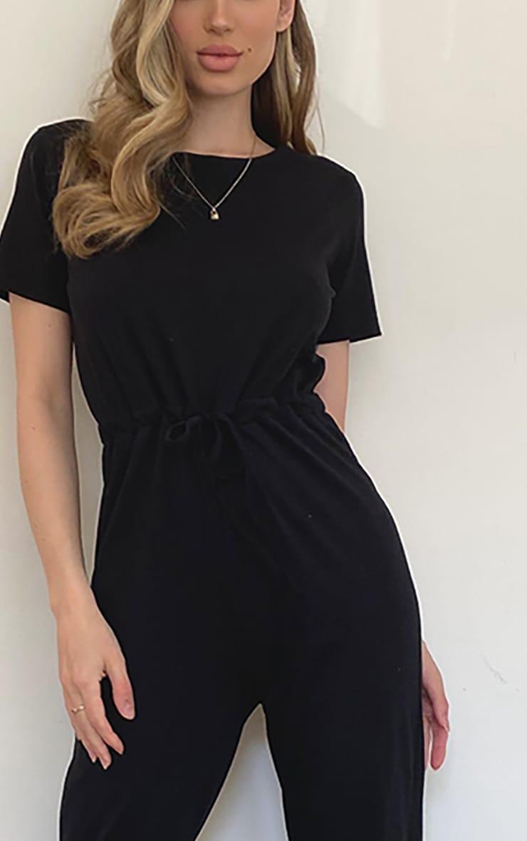 Black Cotton Elastane Short Sleeve Jumpsuit 4