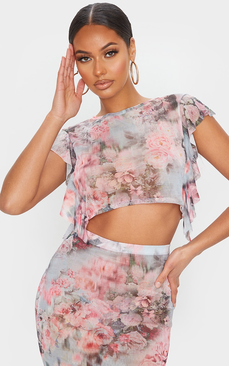 Pink Floral Print Mesh Frill Sleeve Crop Top 1