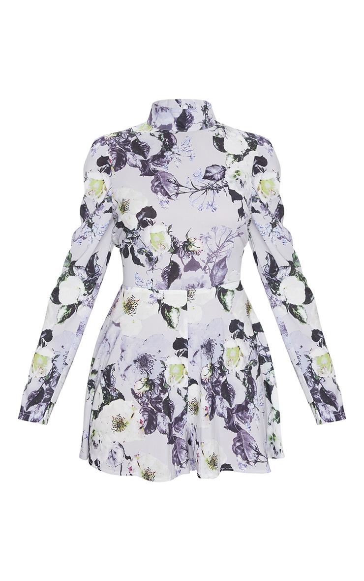 Grey Floral Print Backless Tie Back Playsuit 5
