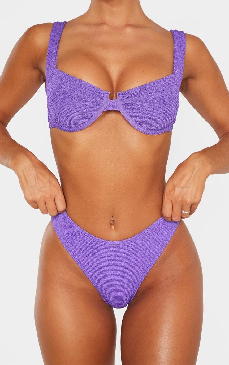 Bas de maillot de bain cheeky crêpé violet 5
