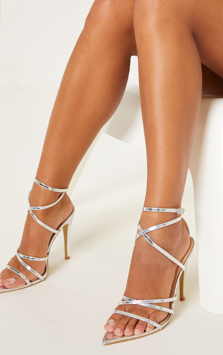 Silver Point Toe Strappy Sandals 2