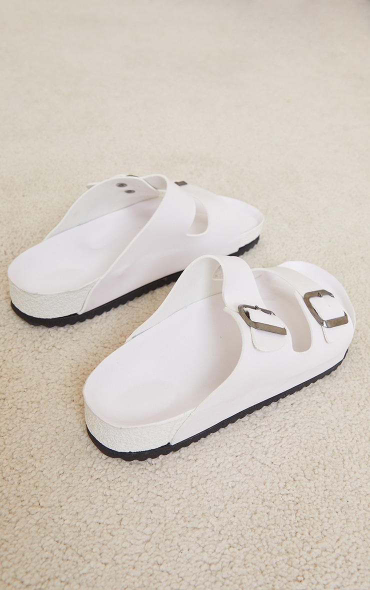 Cream Double Buckle Strap Footbed Sandals 3