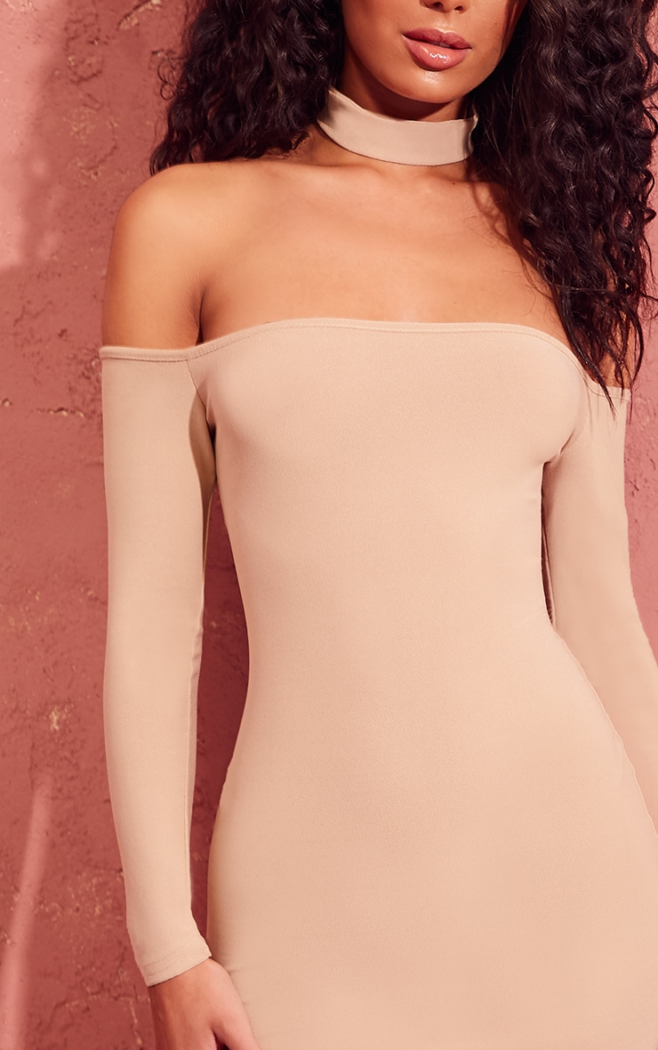 Stone Bardot Choker Detail Long Sleeve Bodycon Dress 5