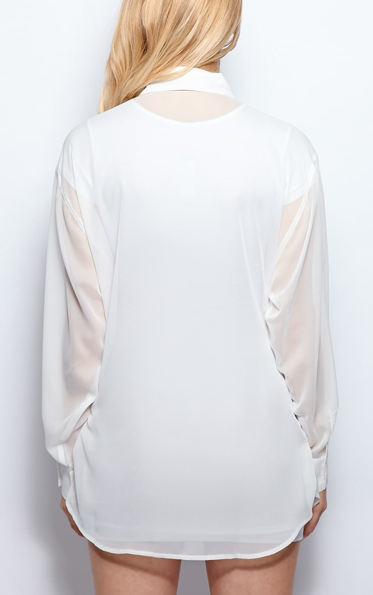 Esme White Sheer Oversized Shirt 2