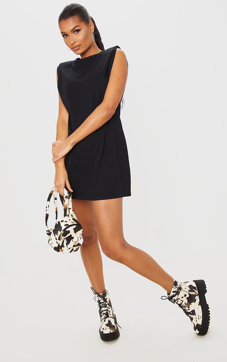 Black Shoulder Padded Sleeveless T Shirt Dress 1