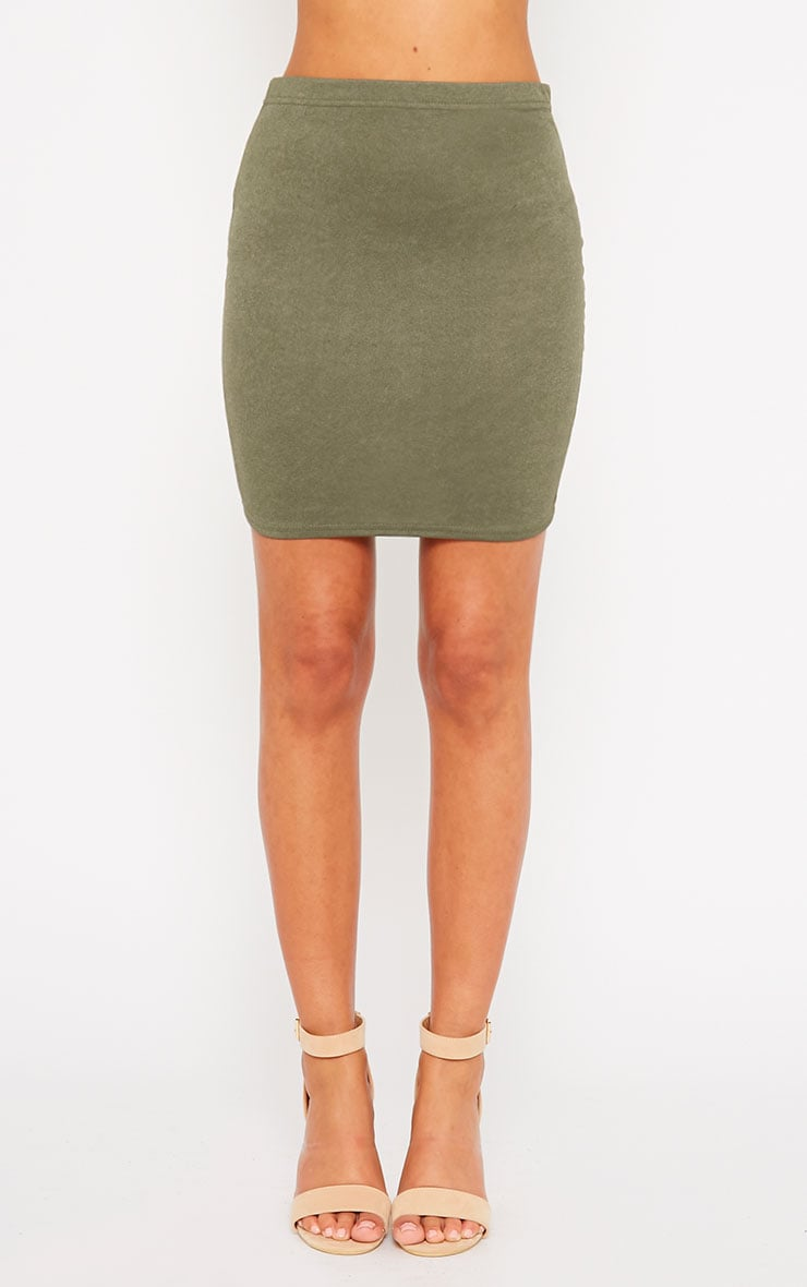 Emilia Khaki Crepe Mini Skirt 2