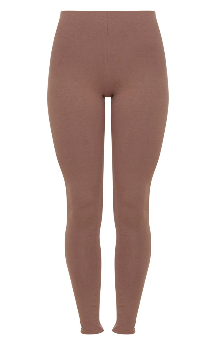 Brown High Waisted Cotton Stretch Leggings  3