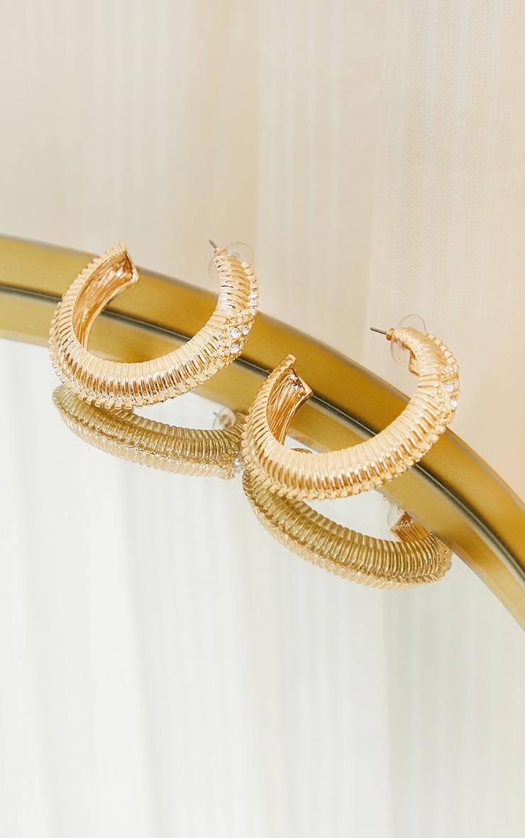 Gold Oversized Chunky Ribbed Hoop Earrings 2