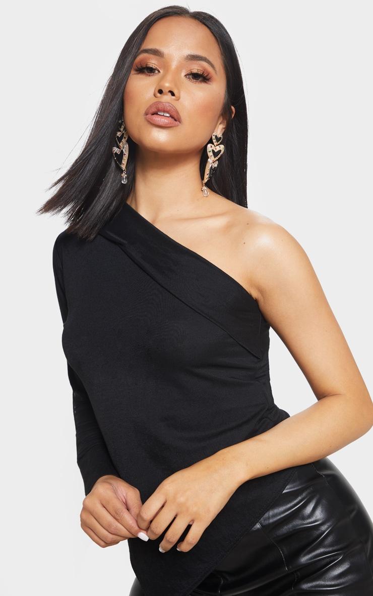 Black Woven One Shoulder Asymmetric Hem Top 5