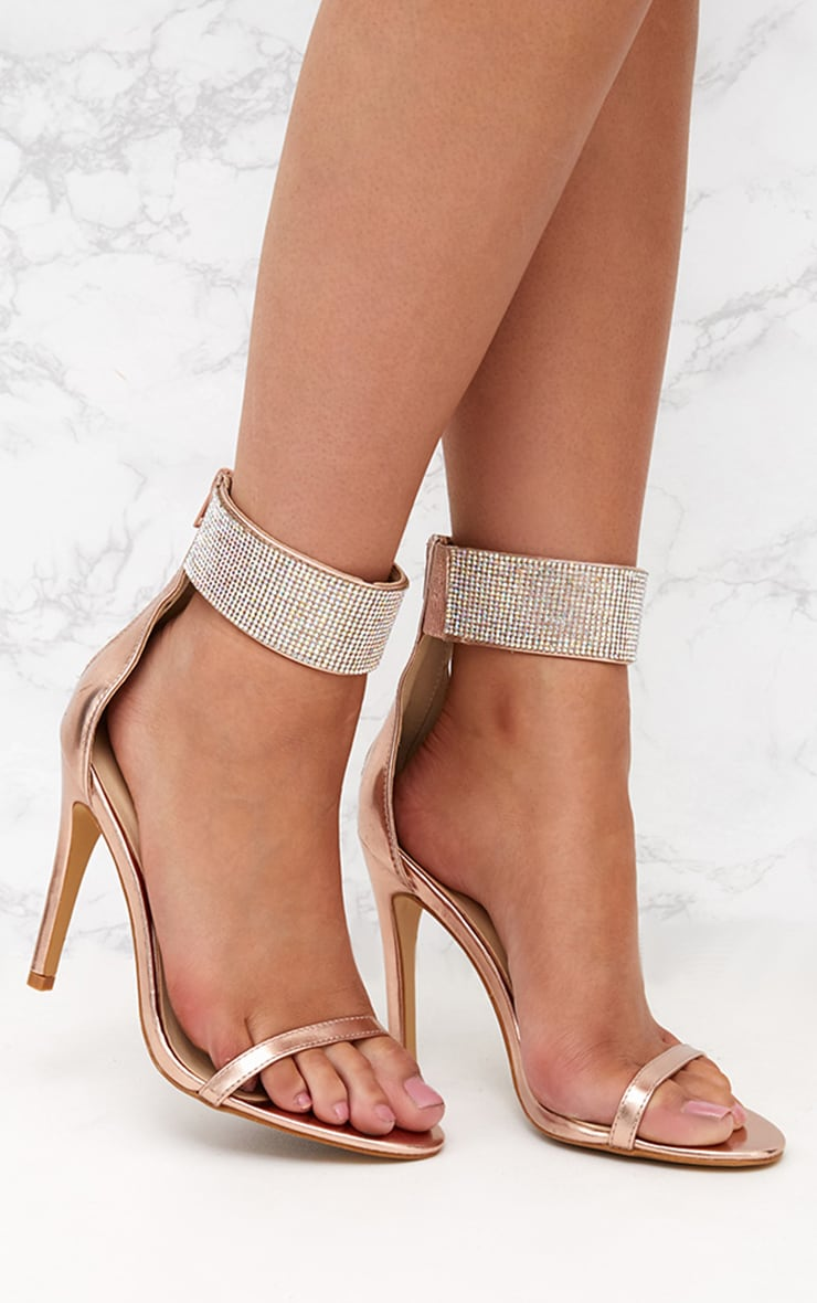 Rose Gold Diamante Cuff Heeled Sandals  1