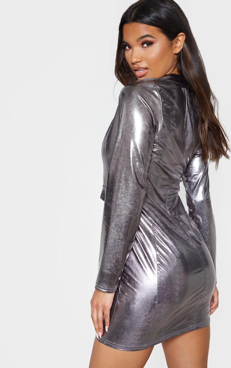 Silver Metallic Sleeve Blazer Dress 2