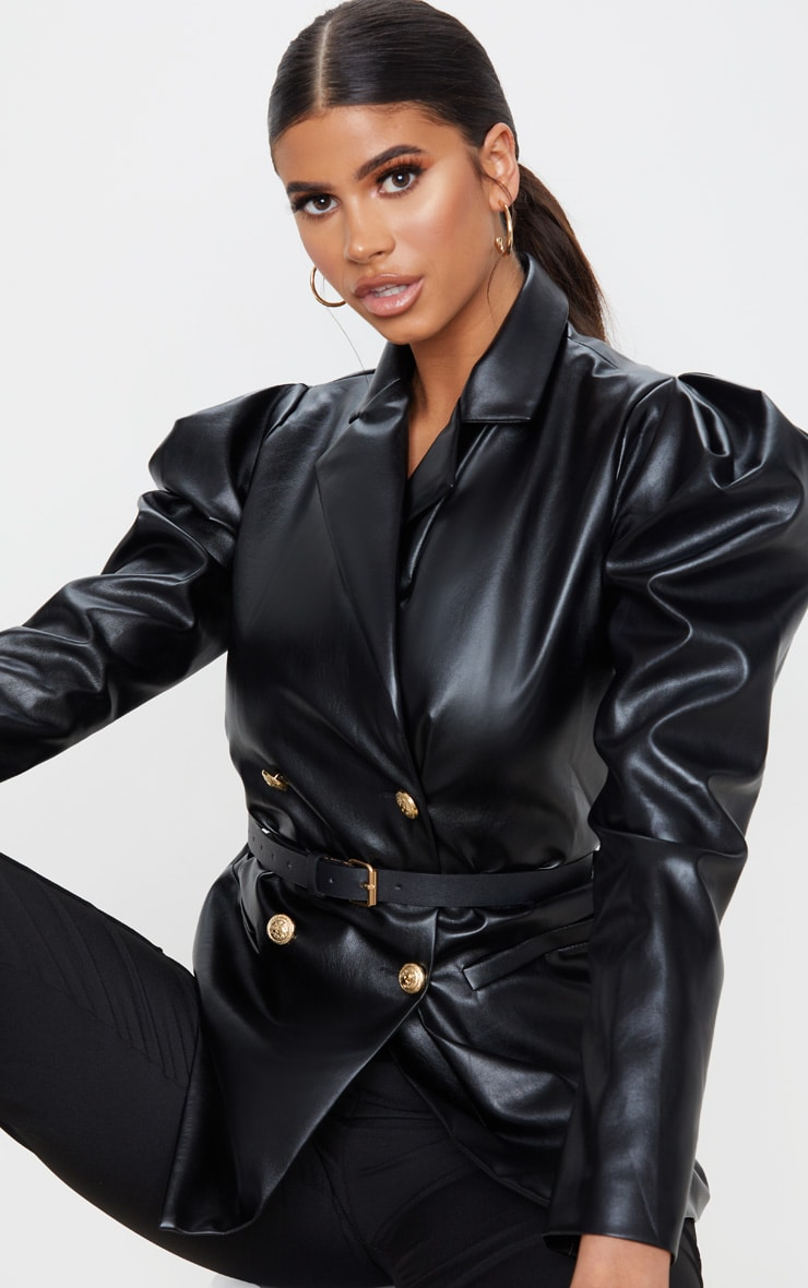 Black Faux Leather Belted Puff Sleeve Blazer 3