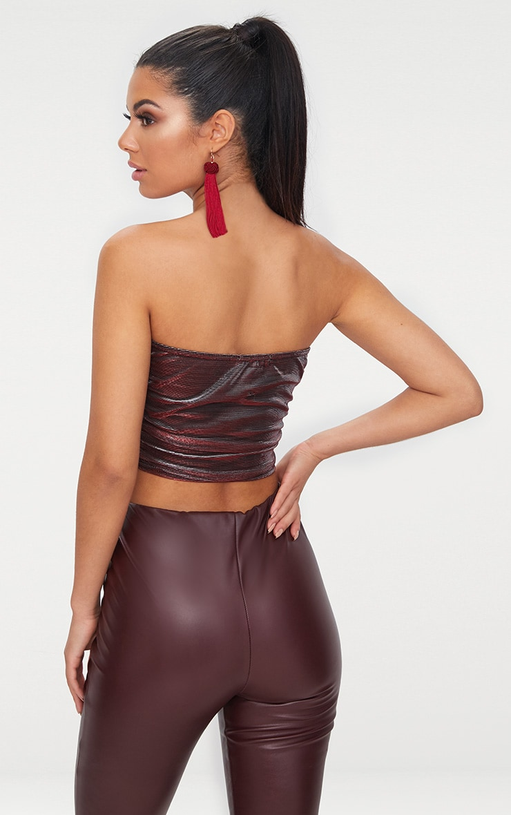 Burgundy Ruched Side Bandeau Crop Top  2