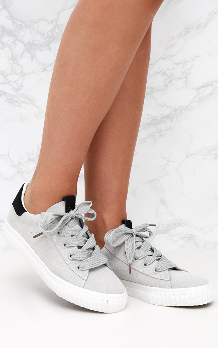 Grey Suedette Lace Up Trainer 1