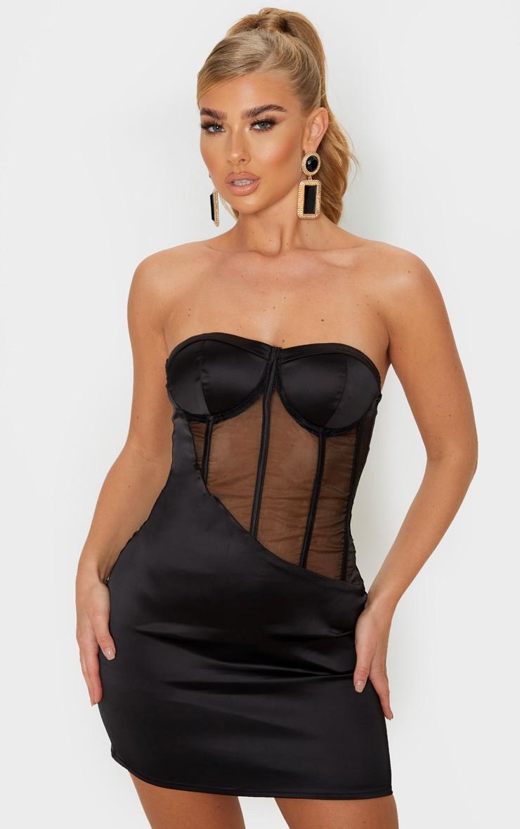 Black Satin Mesh Binding Insert Cup Bandeau Bodycon Dress 1