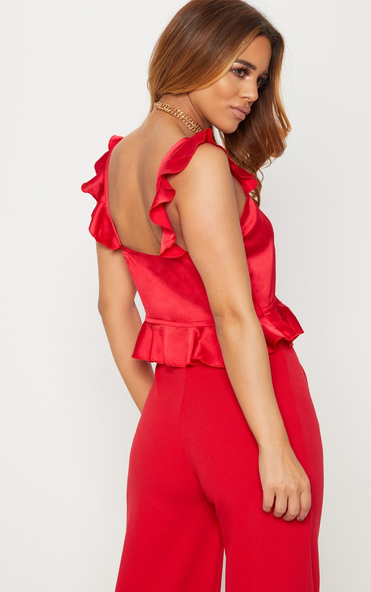 Petite Red Frill Strap Crop Top 2