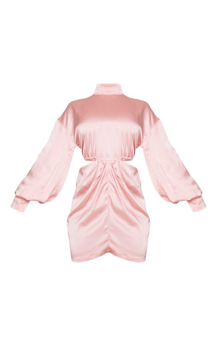 Blush Satin High Neck Cut Out Waist Long Sleeve Bodycon Dress 5